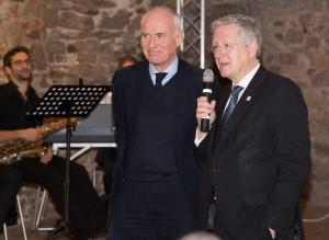 Rektor Professor Schiewer (r.) und Alnatura Gründer Rehn (l.)bei der Feier der Deutschlandstipendiaten [Foto: Uwe Nüssle]