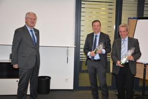 Rektor Prof. Schiewer, Alumnus (...) und Professor Wolfram Burgard nach der Veranstaltung (Foto: Privat).