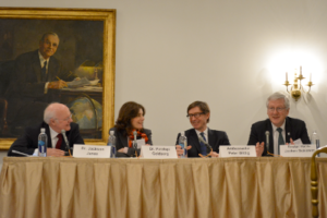 Dr. Jackson Janes, Dr. Pinelopi Goldberg, Ambassador Wittig and Rector Hans-Jochen Schiewer at the Princeton Club. Photographer: Jamie Rhind
