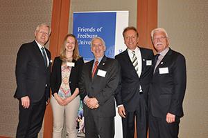 Rektor Schiewer, Katrin Kempiners, Jeffrey Himmel, Markus Lemmens und Professor Gehrke in New York. (Foto: Alumni Freiburg)